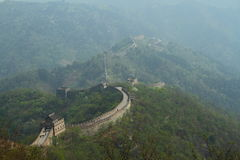 Climate change. Smog from the burning of fossil fuels engulf the Great Wall of China Royalty Free Stock Images