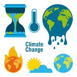 Climate change temperature planet world fire melted time. Vector illustration vector illustration