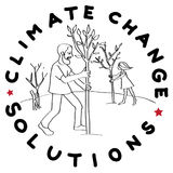 Climate change trees. Climate change solution illustration, hand drawn sticker isolated on white, people planting trees Royalty Free Stock Image
