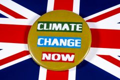 Climate Change and the UK. London, UK - May 29th 2019: Climate Change Now badge, pictured over the flag of the United Kingdom royalty free stock photo