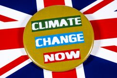 Climate Change and the UK. London, UK - May 29th 2019: Climate Change Now badge, pictured over the flag of the United Kingdom stock photos