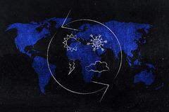 Climate change weather icons with spinning arrows over world map. Climate change in progress conceptual illustration: weather icons with spinning arrows over royalty free illustration