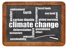 Climate change word cloud on blackboard Royalty Free Stock Image