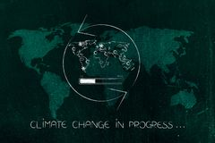 Climate change world map with weather icons and spinning arrows. Climate change in progress conceptual illustration: world map with weather icons and spinning stock photo