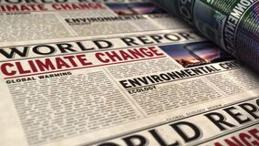 Free Climate Change World Report Newspaper Printing Press Royalty Free Stock Photography - 219831587