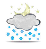 Climate. Cloud, moon and snow Stock Photos