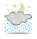 Climate. cloud, rain and moon Royalty Free Stock Photo
