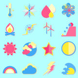 Climate color icons with shadow. Stock vector Royalty Free Stock Photography