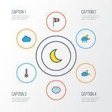Climate Colorful Outline Icons Set. Collection Of Freeze, Scale, Tempest And Other Elements. Also Includes Symbols Such. Climate Colorful Outline Icons Set Stock Images