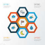 Climate Colorful Outline Icons Set. Collection Of Moonbeam, Lunar, Raindrop And Other Elements. Also Includes Symbols. Climate Colorful Outline Icons Set Stock Image