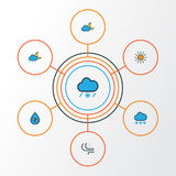 Climate Colorful Outline Icons Set. Collection Of Sunshine, Raindrop, Lunar And Other Elements. Also Includes Symbols. Climate Colorful Outline Icons Set Royalty Free Stock Images