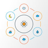 Climate Colorful Outline Icons Set. Collection Of Sunshine, Tornado, Tempest And Other Elements. Also Includes Symbols. Climate Colorful Outline Icons Set Royalty Free Stock Photos