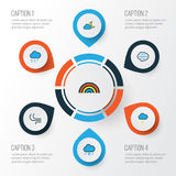 Climate Colorful Outline Icons Set. Collection Of Tornado, Windy, Cloudburst And Other Elements. Also Includes Symbols. Climate Colorful Outline Icons Set Stock Photography