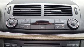 Climate control dashboard unit, ventilation, temperature panel, buttons, design and technology Stock Images