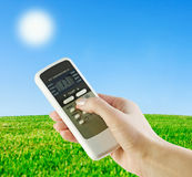Climate control in our hands Royalty Free Stock Images