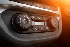 Climate control panel close-up. luxury car interior stock photography