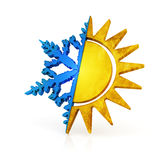 Climate control symbol. Snow and sun icon. Hi-res digitally generated image Royalty Free Stock Image