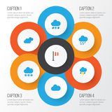 Climate Flat Icons Set. Collection Of Cloud, Snow, Overcast And Other Elements. Also Includes Symbols Such As Cloud. Climate Flat Icons Set. Collection Of Cloud Stock Images
