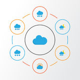 Climate Flat Icons Set. Collection Of Drizzles, Snow, Cloud And Other Elements. Also Includes Symbols Such As Snow. Climate Flat Icons Set. Collection Of Royalty Free Stock Images