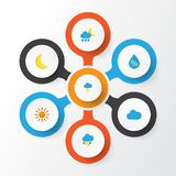 Climate Flat Icons Set. Collection Of Drop, Cloud, The Flash And Other Elements. Also Includes Symbols Such As Storm. Climate Flat Icons Set. Collection Of Drop Stock Photos