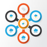 Climate Flat Icons Set. Collection Of Lightning, Snow, Drizzles And Other Elements. Also Includes Symbols Such As Shower. Climate Flat Icons Set. Collection Of Stock Photography