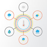 Climate Flat Icons Set. Collection Of Shower, Hailstones, Lightning And Other Elements. Also Includes Symbols Such As. Climate Flat Icons Set. Collection Of Stock Photos