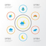 Climate Flat Icons Set. Collection Of Snow, Hailstones, Moon And Other Elements. Also Includes Symbols Such As Clouds. Climate Flat Icons Set. Collection Of Snow Royalty Free Stock Images