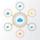 Climate Flat Icons Set. Collection Of Sunny, Sun, Crescent And Other Elements. Also Includes Symbols Such As Shower. Climate Flat Icons Set. Collection Of Sunny Stock Image