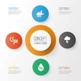 Climate Icons Set. Collection Of Moisture, Breeze, Nightly And Other Elements. Also Includes Symbols Such As Flash. Climate Icons Set. Collection Of Moisture Royalty Free Stock Images