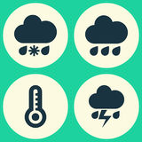 Climate Icons Set. Collection Of Wet, Rainy, Flash And Other Elements. Also Includes Symbols Such As Wet, Sleet, Rain. Royalty Free Stock Photography