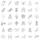 Climate icons set, outline style. Climate icons set. Outline style of 36 climate vector icons for web isolated on white background Stock Image