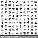 100 climate icons set, simple style. 100 climate icons set in simple style for any design vector illustration Royalty Free Stock Photography