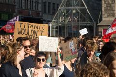 Climate march GHENT, teen protest for the envirement royalty free stock photo