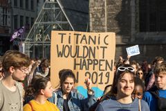 Climate march GHENT, teen protest for the envirement royalty free stock photos