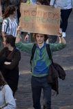 Climate march GHENT, teen protest for the envirement stock image