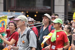 Climate March NYC 2014. New Yorkers come in the thousands in the streets of New York to demostrate in favor of climate control, with the objective of sending a Royalty Free Stock Images