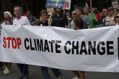 Climate March NYC 2014. New Yorkers come in the thousands in the streets of New York to demostrate in favor of climate control, with the objective of sending a Royalty Free Stock Photography
