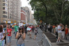 Climate March NYC 2014. New Yorkers come in the thousands in the streets of New York to demostrate in favor of climate control, with the objective of sending a Stock Image