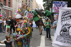 Climate March NYC 2014. New Yorkers come in the thousands in the streets of New York to demostrate in favor of climate control, with the objective of sending a Royalty Free Stock Photos