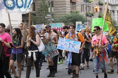 Climate March NYC 2014. New Yorkers come in the thousands in the streets of New York to demostrate in favor of climate control, with the objective of sending a Stock Photo