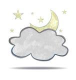 climate nuage et lune illustration stock
