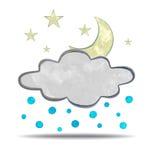climate nuage, grêle et lune illustration stock