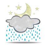 climate nuage, pluie et lune illustration stock