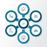 Climate Outline Icons Set. Collection Of Breeze, Drizzle, Night And Other Elements. Also Includes Symbols Such As Snow. Climate Outline Icons Set. Collection Of Stock Image