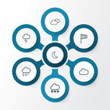 Climate Outline Icons Set. Collection Of Overcast, Moon, Cloud And Other Elements. Also Includes Symbols Such As. Climate Outline Icons Set. Collection Of Stock Photo
