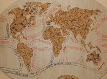 Climate and streams in Europe, Asia, Africa and Australia old map. map of world currents on a tree.  royalty free stock photos