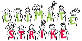 CLIMATE STRIKE group of stick people holding green and red letters, against climate change stock illustration
