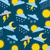 Climate sun cloud rain thunderbolt winter snow pattern. Vector illustration Royalty Free Stock Images