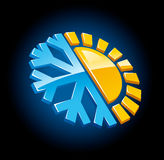 Climate symbol icon winter and summer. Snow and sun  illustration Royalty Free Stock Images