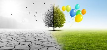 Climate Transition in Landscape. With a tree and balloons royalty free stock images